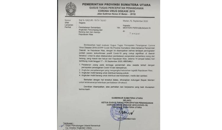 Pembatasan Angkutan Penumpang dan Barang Ke Nias, Gubernur Sumatera Utara Keluarkan Surat Edaran