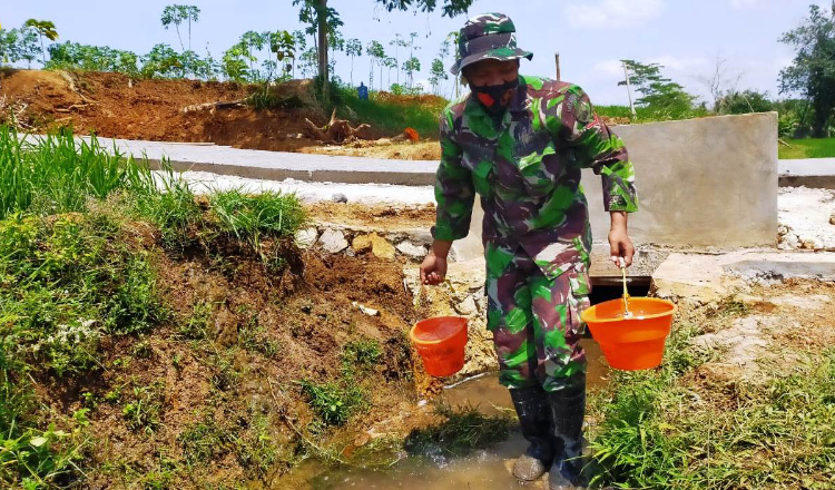 Beruntung, Air Untuk Dukung Proyek Fisik TMMD Cukup