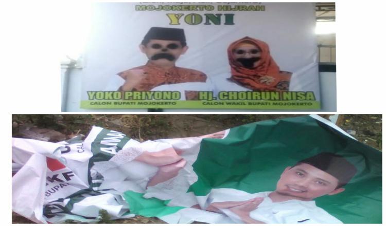 Banner Bapaslon Pilbup Mojokerto Dirusak, Bawaslu Dorong Lapor Polisi