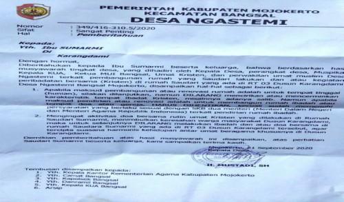 Viral Surat Larangan Beribadah yang Dikeluarkan Desa Ngastemi di Media Sosial
