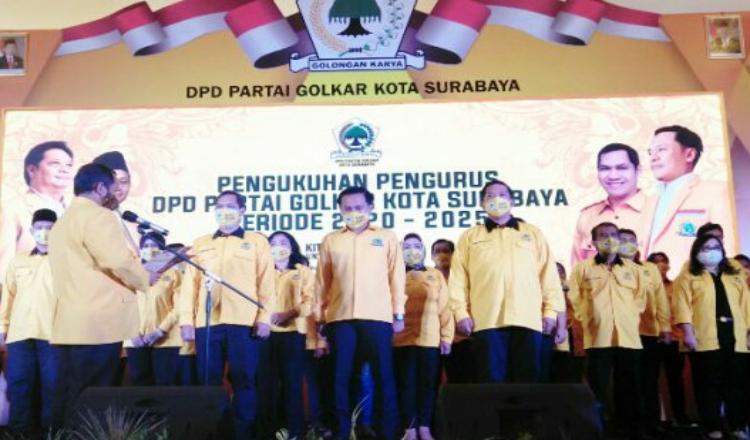 Resmi Dikukuhkan, DPD Golkar Surabaya Target Tambah Kursi di Pemilu 2024