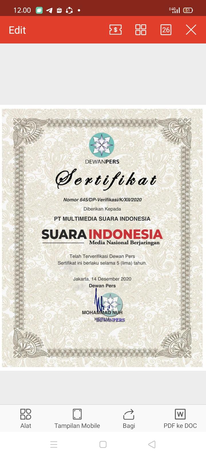 Suaraindonesia.co.id Terverifikasi Faktual dan Bersertifikat Dewan Pers