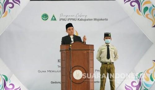 Pembukaan Konfercab IPNU-IPPNU, Gus Barra Bertekad Membumikan Aswaja di Bumi Majapahit