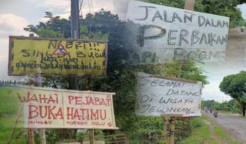Akankah ada Gerakan Pasang Seribu Papan Tulisan Mengkritik Jalan Rusak di Kabupaten Ngawi?