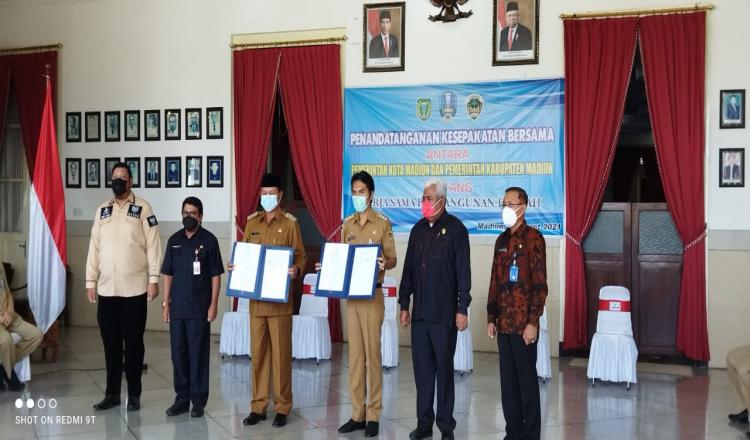 Sah, Walikota Dan Bupati Madiun Tandatangani Kerjasama Pembangunan Ring Road Timur.