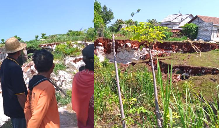 Bekas Tambang Kapur Dekat Pemukiman Warga di Tuban Runtuh