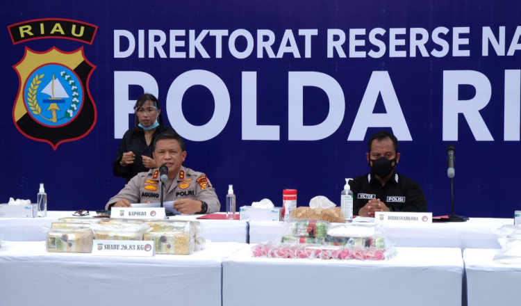 Polda Riau Gelar Pemusnahan Narkoba Seberat 45 Kilogram