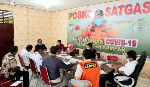 Tindak Lanjuti Arahan Jokowi, Pemkab Kampar Koordinasi Penanganan Covid-19