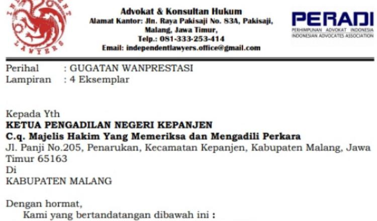 'Mangkir' di Persidangan, Kuasa Hukum PT Mahameru Propoerty Angkat Bicara