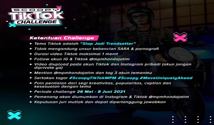 Tantang Kreativitas Anak Muda, MPM Honda Jatim Gelar Scoopy TikTok Challenge