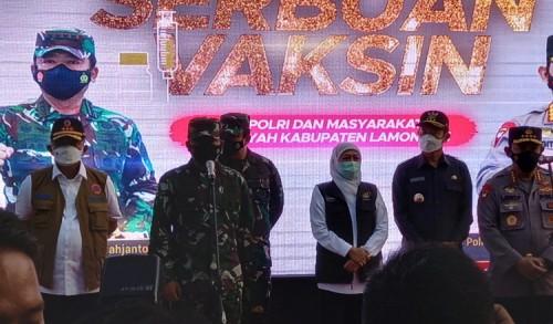 Gubernur Khofifah Dampingi Kunker Kapolri dan Panglima TNI di Lamongan