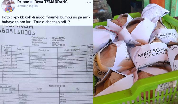 Fotokopian Surat KK Jadi Bungkus Bumbu Hingga Nasi, Ini Penjelasan Disdukcapil Tuban