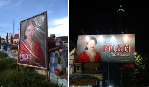 Running Capres 2024, Ratusan Gambar Puan Maharani Mulai Menghiasi Seluruh Jalan di Lamongan