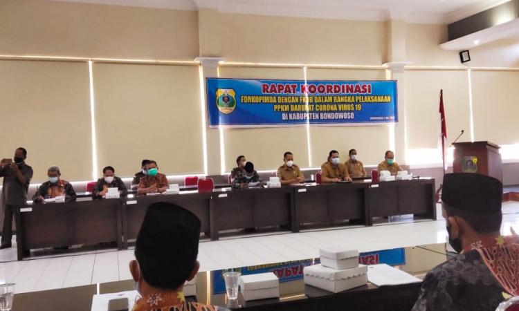 Pemkab Bondowoso Ajak FKUB Turut Andil Imbau Masyarakat Patuhi PPKM Darurat Covid-19