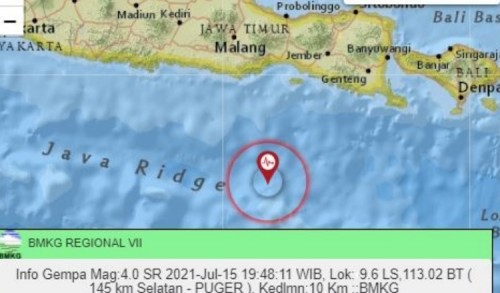 Jember Diguncang Gempa 4.0 SR, Berpusat di Pantai Puger
