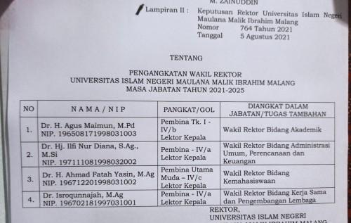 Ini Daftar 4 Wakil Rektor UIN Maliki Malang Periode 2021-2025