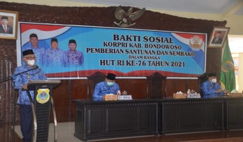 Bupati Bondowoso Apresiasi Program Korpri Bagikan Sembako pada Warga
