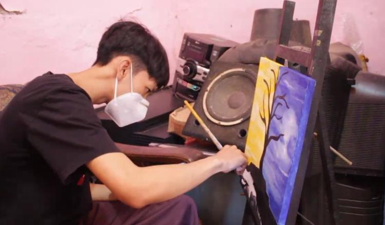 Pelukis Muda Difabel Bertahan di Tengah Pandemi Covid-19