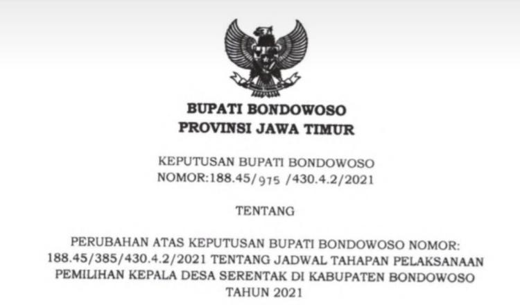 Pemkab Bondowoso Resmi Undur Pilkades Serentak 2021 ke 15 November