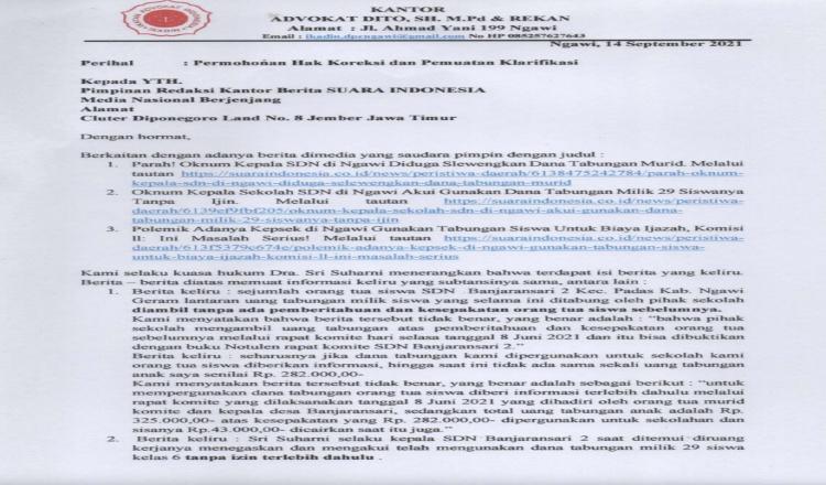 Ini Permohonan Hak Koreksi dan Pemuatan Klarifikasi Terkait Pemberitaan SDN Banjaransari