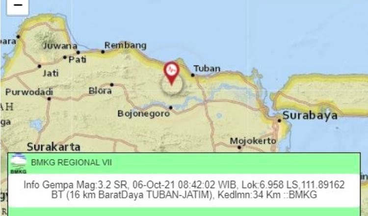 Gempa Magnitudo 3,2 Terjadi di Barat Daya Tuban